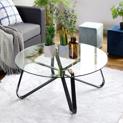 furniture clear tempered glass round coffee table 40cm height 80x80 size black metal legs home furniture diy kochbuch kraeuterteeversand de