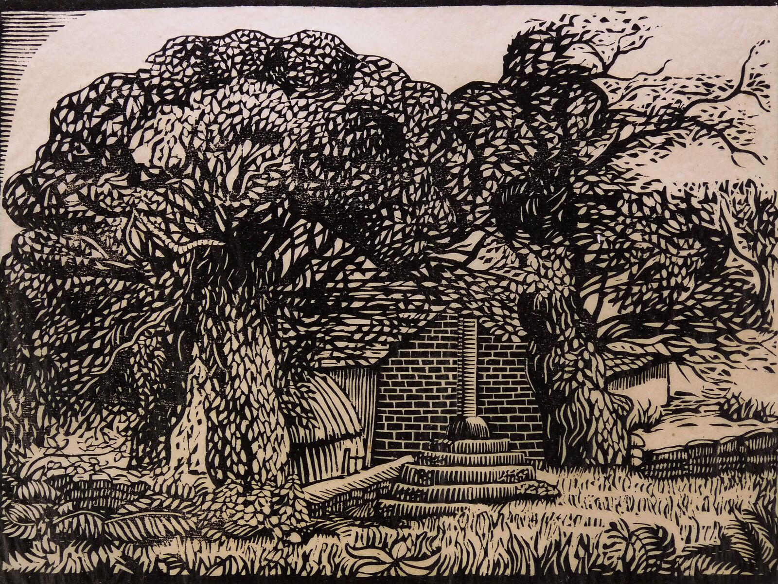 Léon Bellot (1893-1976) Wood Engraved Landscape Pont-Aven Brittany Bzh