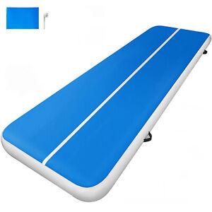 details sur 4x1x0 2m tapis de gymnastique gonflable airtrack tapis de tumbling fitness bleu