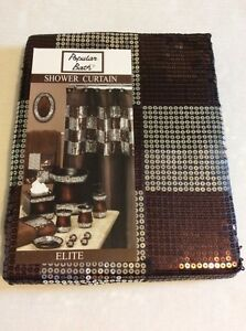Popular Bath Elite Sequin Orb Brown Silver Shower Curtain Rug Hooks 13pc Set NEW EBay