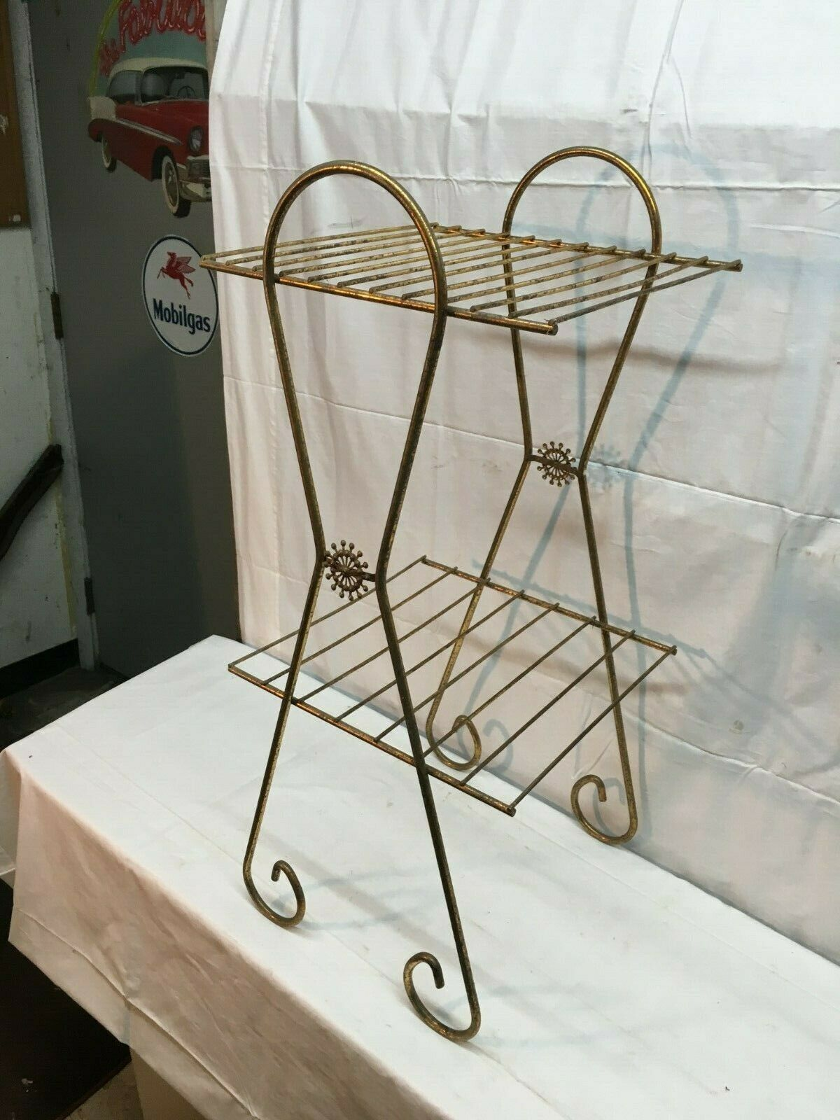 Vintage Mid Century Modern Metal Wire Record Stand 2 Tier Atomic Retro For Sale Online