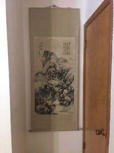 Mountain Waterfall Scene Old Chinese Large Scroll Painting