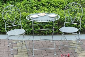 details about garden bistro set metal patio furniture table chairs garden 3 piece antique grey