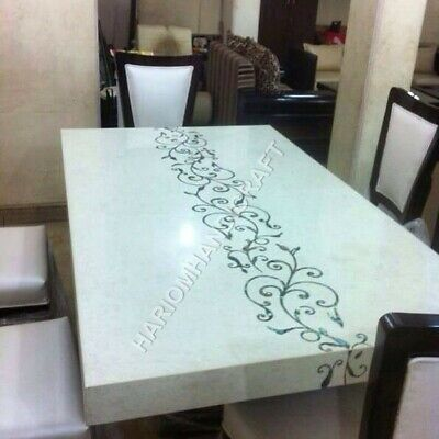 4 x2 italian marble white top dining table mother of pearl home decors e950c ebay