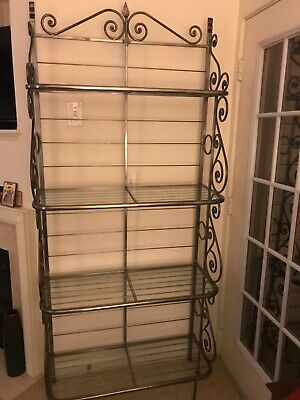 antique vintage wrought iron w glass shelves bakers rack display shelving decor ebay