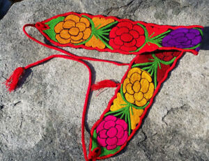 Faja Mexican Belt Embroidered Flowers Rainbow Chiapas 35  71  w ties     Image is loading Faja Mexican Belt Embroidered Flowers Rainbow Chiapas 35