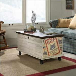 Farmhouse Coffee Table Rolling Storage Trunk Chest Rustic