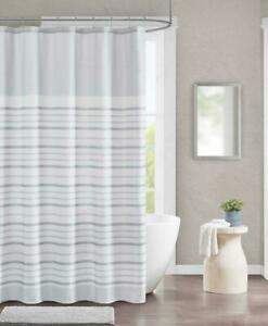 details about urban habitat brett stripe shower curtain light gray white traditional preppy