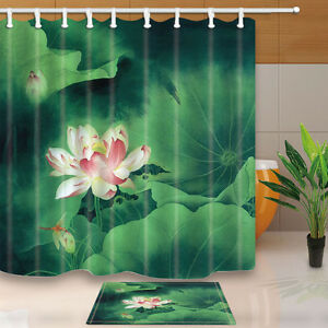 The Lotus Theme Waterproof Fabric Home Decor Shower Curtain Bathroom Mat EBay