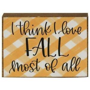 Download I think I Love FALL most of all Orange Buffalo check Block ...