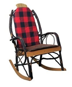 details about amish hickory rocking chair pad cushion set buffalo red plaid