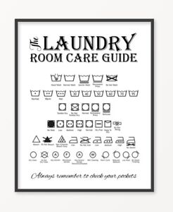 details about laundry care guide print poster utility room washing symbols