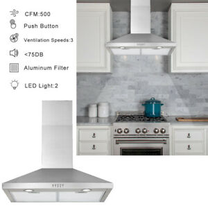 details about 30 wall mount range hood stainless steel kitchen exhaust vent stove fan filter