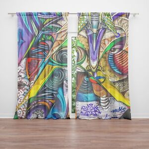 details about graffiti window curtains colorful drapery curtain panels african window curtains