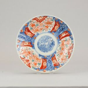 Antique 19th c Japanese Porcelain Imari Plate Arita Bird Meijo Japan
