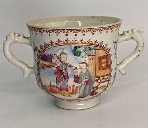 Chinese Antique Porcelain Mandarin Pattern Loving Cup Qianlong c18th FINE QING