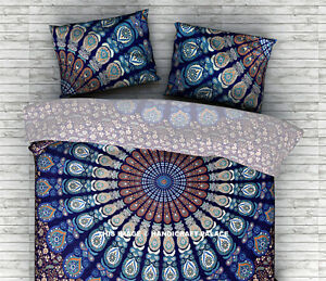 details about 18 x 28 inches standard size indian blue peacock mandala pillow covers shams