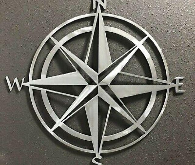 Compass Rose Metal Wall Art Skilwerx Colors  Ocean Nautical