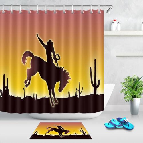 badzubehor textilien desert cowboy cactus western shower curtain bathroom waterproof fabric hooks set mobel wohnen toquex pe