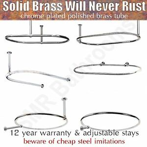 details about traditional round oval shower curtain rails with optional wallstays