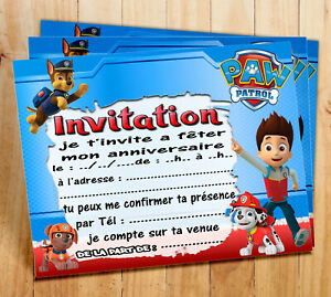 details sur cartes invitation anniversaire pat patrouille par 6 ou 12