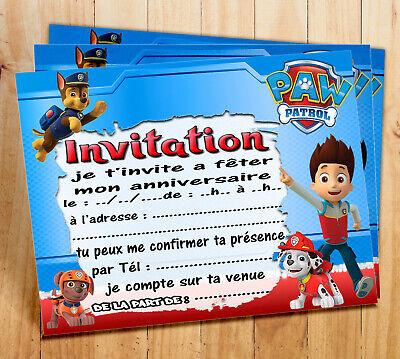 cartes invitation anniversaire pat patrouille par 6 ou 12 ebay