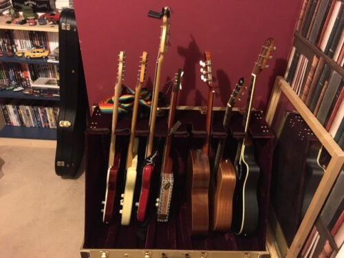 8 guitar rack case by gear4music tweed