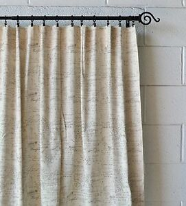 details about french scripted linen designer drapery curtain panels two panels cream unlined