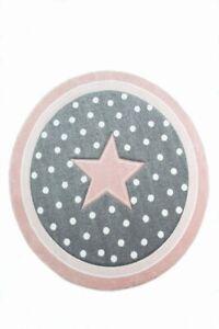 details sur tapis enfants tapis de jeu tapis bebe fille tapis rond etoile rose creme gris