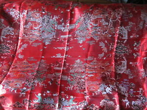 Large Vintage Fringed Dragon Festival Scene Red Chinese SILK THROW Wall Hanging