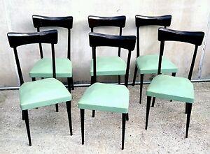 Lo stile di arredamento anni '50 pretende che i mobili e con essi le sedute assumano delle forme semplici e sinuose e sopratutto diventino sempre più. Eccezionale Lotto Di 6 Sedie Anni 50 In Faggio Design Stile Papillon Ico Parisi Ebay