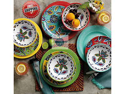 12 piece melamine plastics dinnerware set service for 4 dishwasher safe ebay