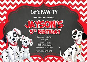details about 101 dalmatians dalmatian puppy dog birthday party invitation