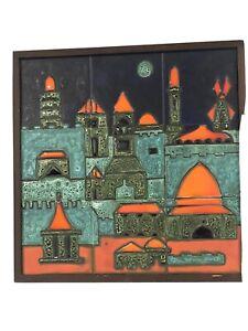 details about vintage dina original jerusalem framed ceramic tile wall art