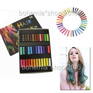 36 färben haarkreide hairchalk haarpuder kurz haartönung set haarfarbe chalks ebay