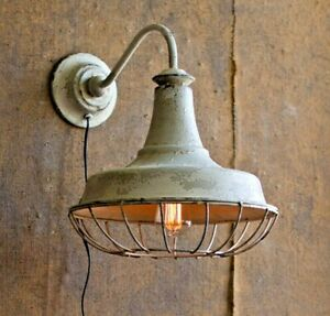 details about gooseneck wall sconce light vintage style distressed rustic white barn light