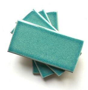 details about 3x6 turquoise handmade glossy finish crackled ceramic tile backsplash sample