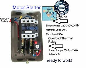 MAGNETIC MOTOR STARTER CONTROL 5 HP Single Phase 220240V 2434A  onoff button 662425062461 | eBay