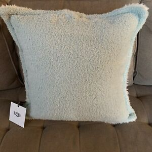 details about ugg ana sherpa throw pillow mist one side white one side 20 x 20 new