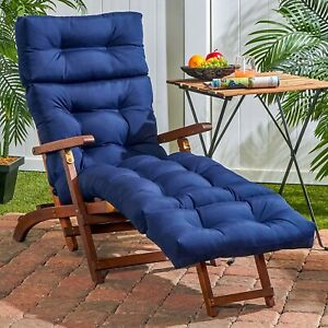 details about chaise lounge chair cushion 72 tufted padded outdoor patio deck pillow navy