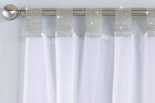 gardinen vorhange silver diamante crystal vegas voile net curtain white tab top single panel 183cm mobel wohnen elite eshop eu