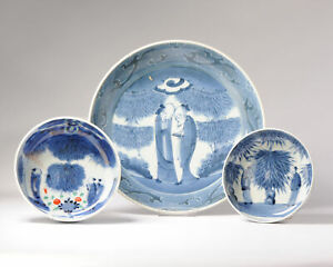 Lot Ca 1780-1820 Japanese Porcelain Bowls Dish Kanzan and Jittoku Arita Japan...