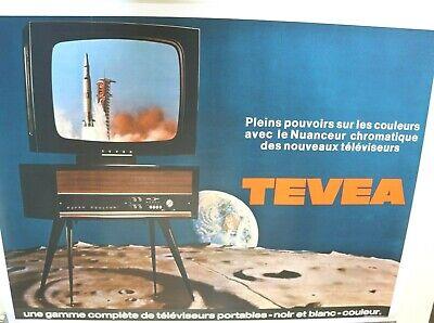 affiche horizontale tv set tevea lune apollo 1969 lem lm idem teleavia 111