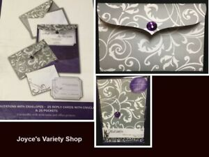 Details About His Hers Wedding Invitations Complete Gray White Fl Purple Accent 25 Box