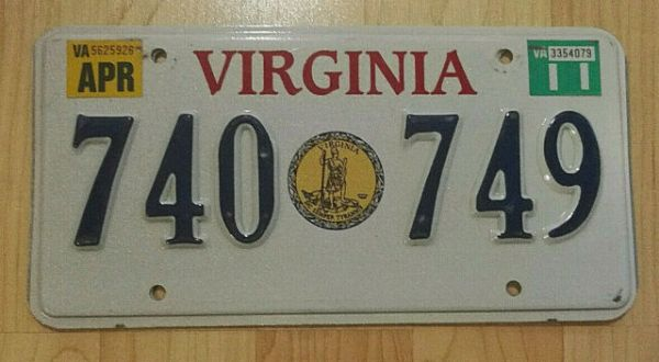 REAL VIRGINIA STATE SEAL LICENSE PLATE AUTO CAR TAG # 740 ...