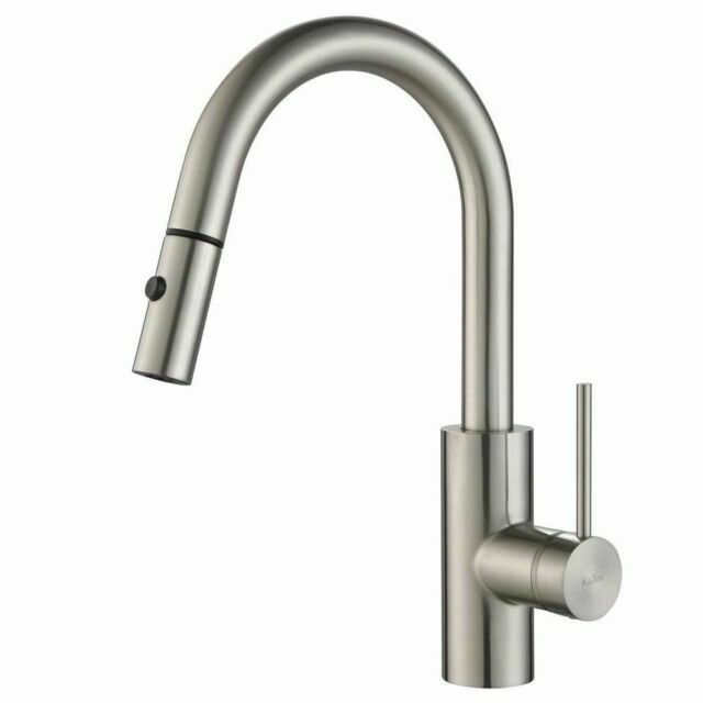 kraus oletto pull down handle faucet spot free stainless steel