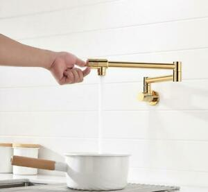 details about pot filler faucet wall mount gold folding stretchable brass cold kitchen faucet