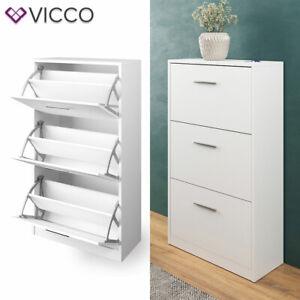 details sur vicco meuble a chaussures gizmo 3 compartiments espace de rangement blanc