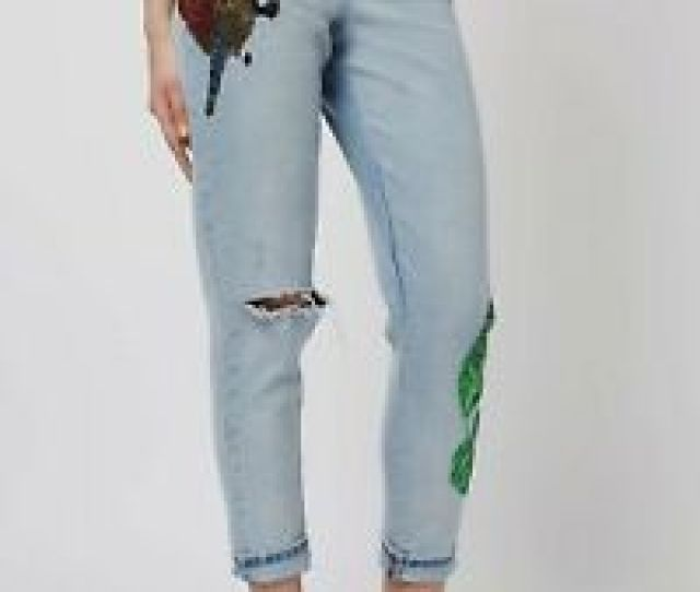 Image Is Loading Topshop Moto Rio Mom Sequin Jeans Womens