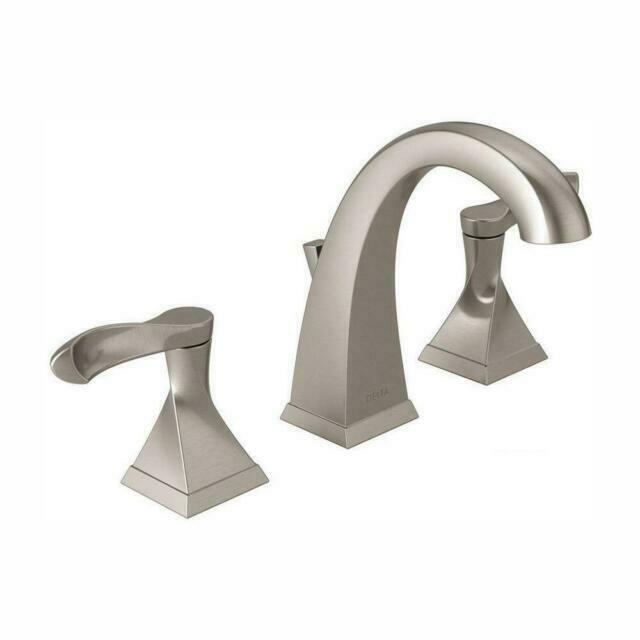 delta everly 8 inch widespread 2 handle bathroom faucet with metal drain assembly brushed nickel